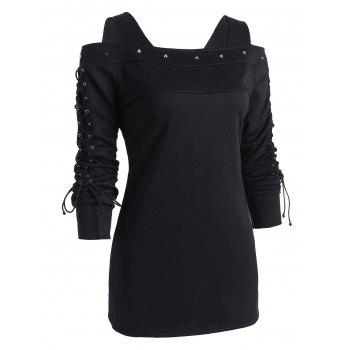 Rivet Lace-up Long Sleeve Cold Shoulder T-shirt - BLACK 2XL