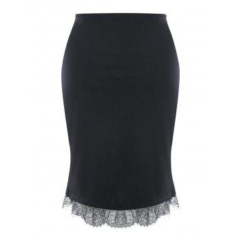 Plus Size Button Up Lace Trim Midi Skirt - BLACK 3XL