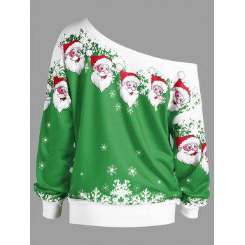 Plus Size Christmas Santa Claus Skew Collar Sweatshirt - GREEN XL