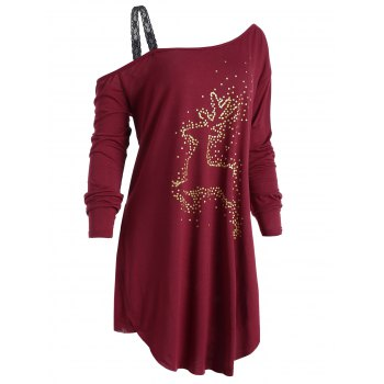 Plus Size Christmas Reindeer Long Sleeve Tunic T-Shirt - WINE RED XL