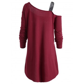 Plus Size Christmas Reindeer Long Sleeve Tunic T-Shirt - WINE RED 4XL