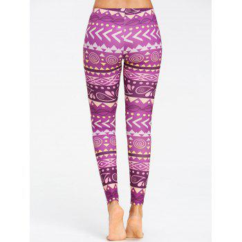 Breathable Chevron Pattern Yoga Leggings - PURPLE XL