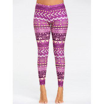 Breathable Chevron Pattern Yoga Leggings - PURPLE M