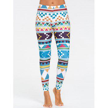 Cute Geometric Pattern Yoga Leggings - COLORFUL L