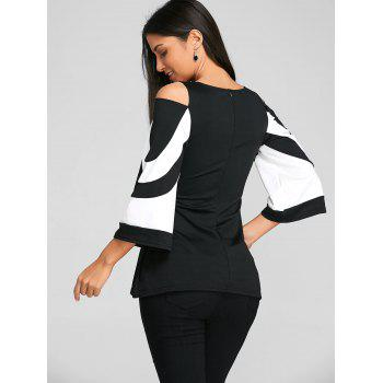Cold Shoulder Two Tone Blouse - BLACK 2XL