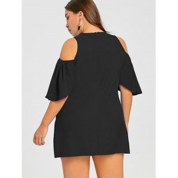 Plus Size Open Shoulder Short Dress - BLACK 2XL