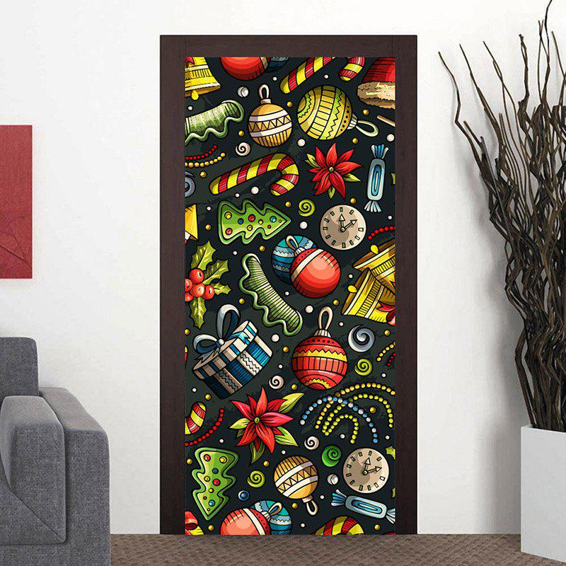Autocollants de porte de décoration d'éléments de Noël - coloré 38.5*200CM*2PCS