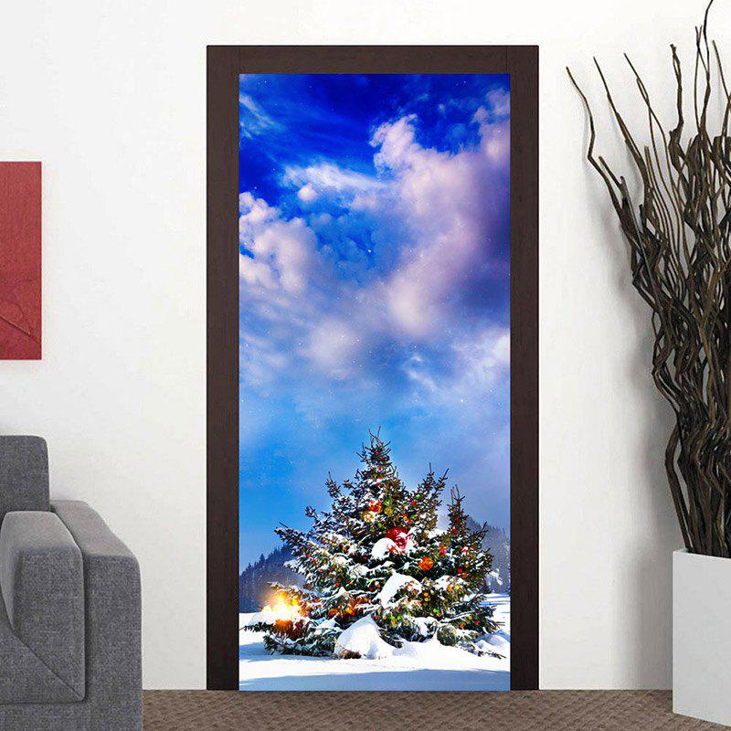 Outdoor Christmas Tree Pattern Door Art Stickers - CLOUDY 38.5*200CM*2PCS