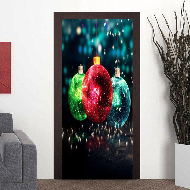 Christmas Balls Pattern Decorative Door Cover Stickers - COLORMIX 38.5*200CM*2PCS
