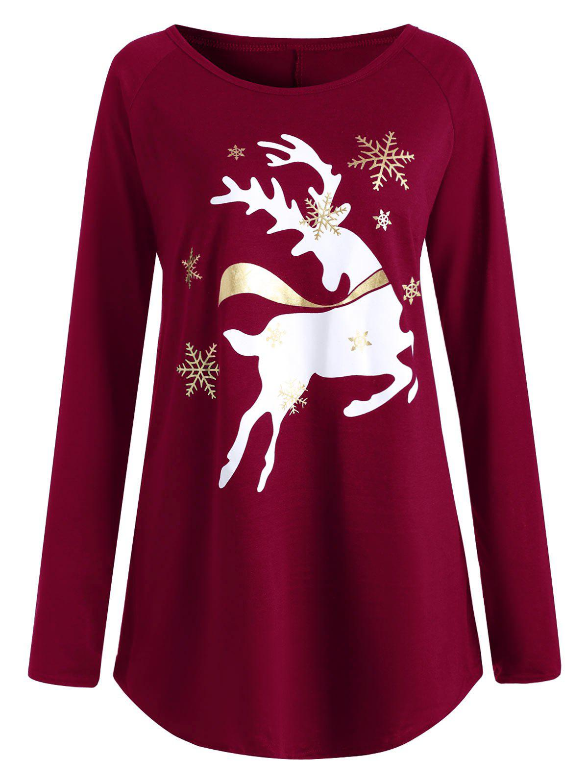 2018 Plus Size Christmas Deer Printed T-shirt WINE RED XL ...