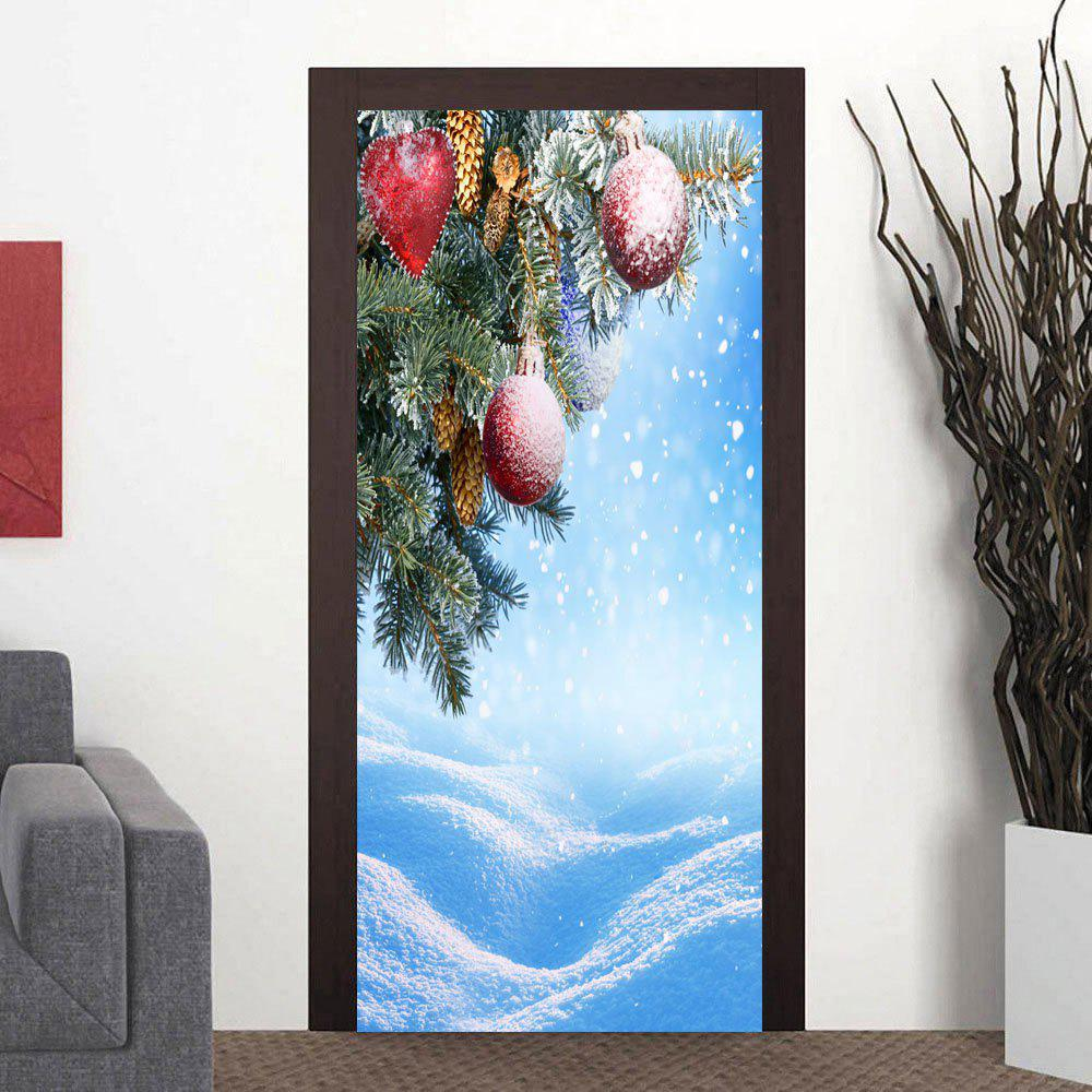Christmas Snowscape Pattern Decorative Door Art Stickers - CLOUDY 38.5*200CM*2PCS