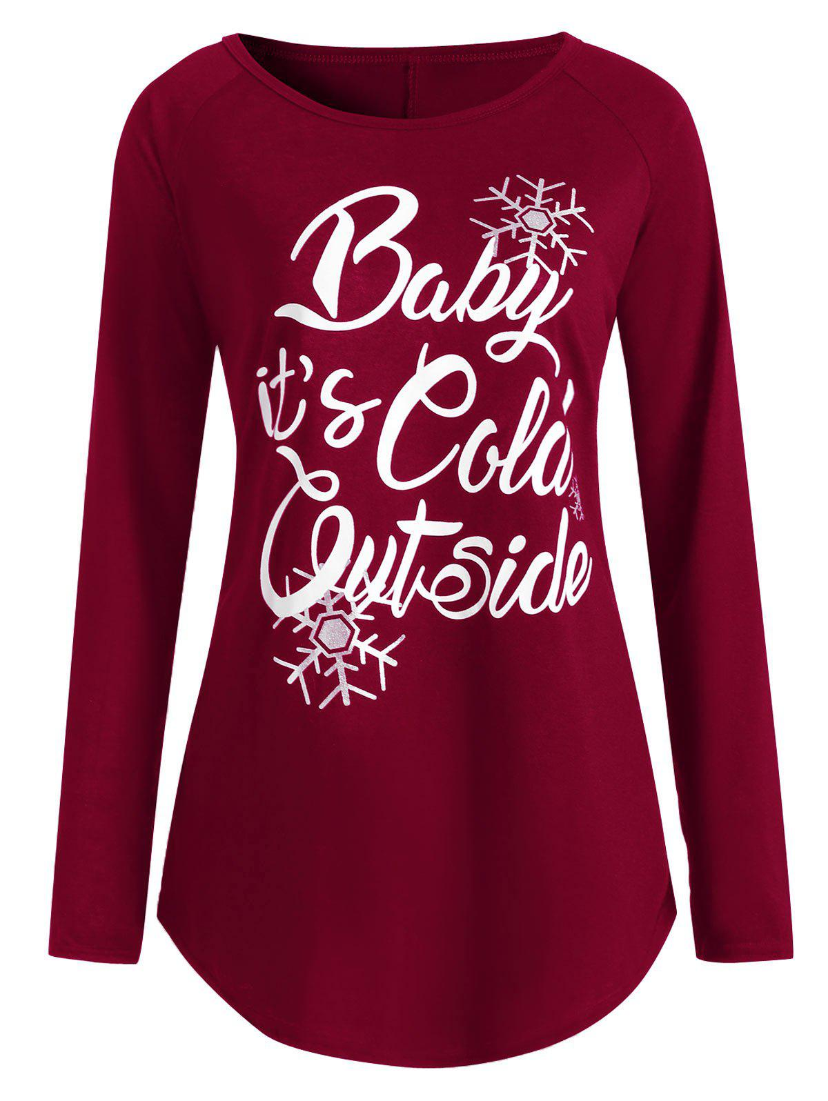baby its cold outside plus size christmas t shirt deep red 3xl