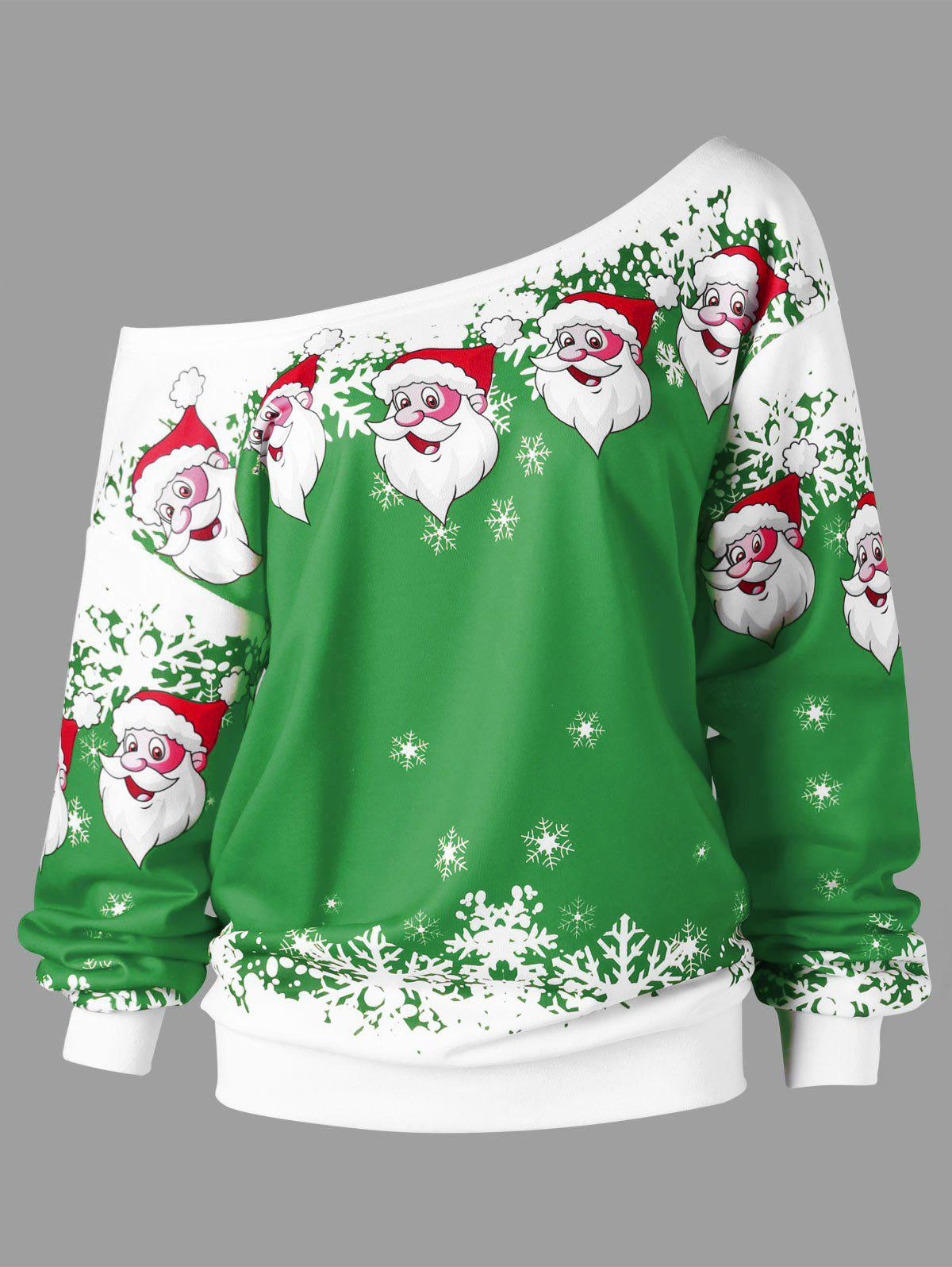 Plus Size Christmas Santa Claus Skew Collar Sweatshirt plus size christmas reindeer skew collar sweatshirt