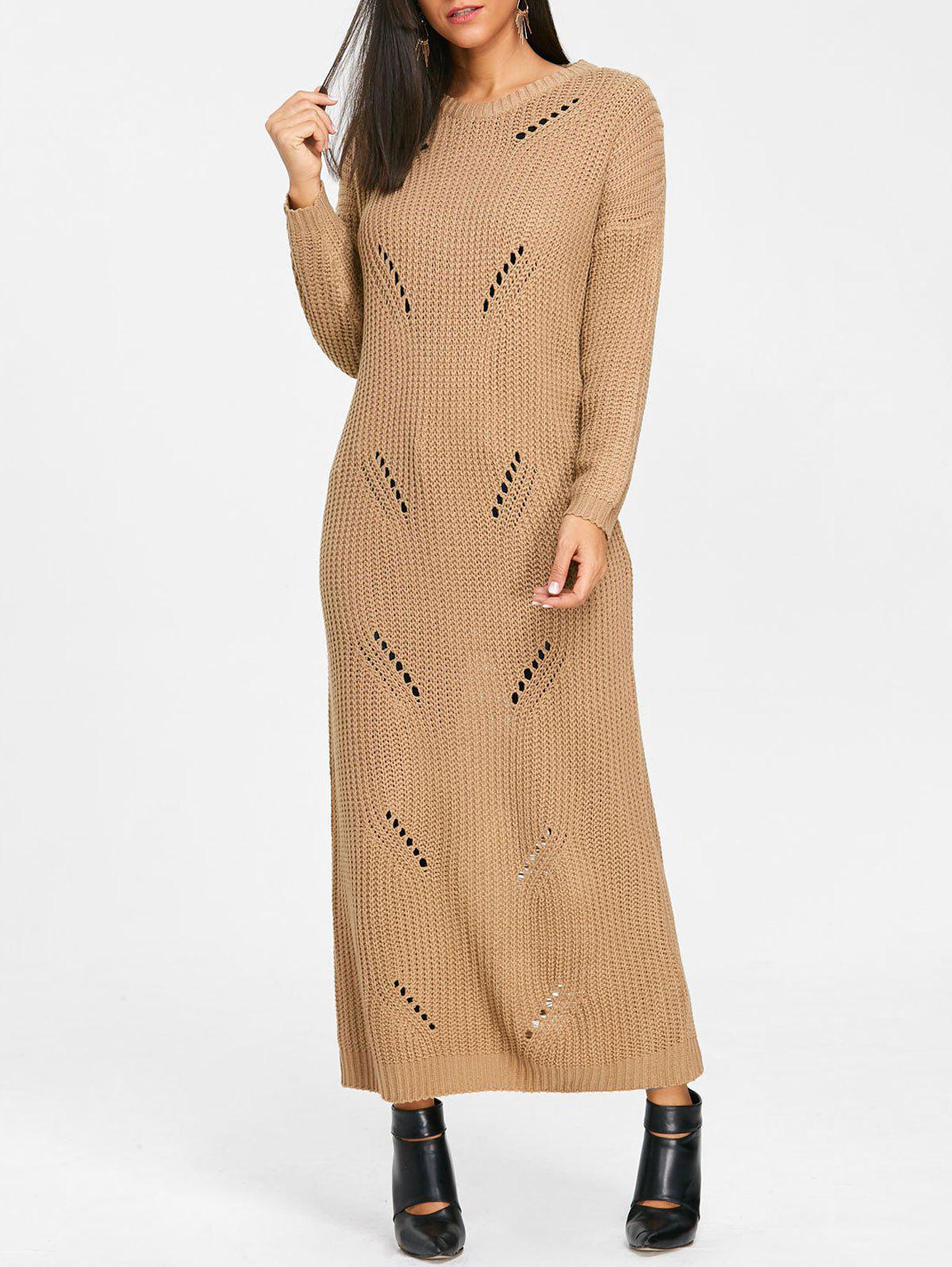 Ripped Chunky Knit Long Dress - KHAKI S
