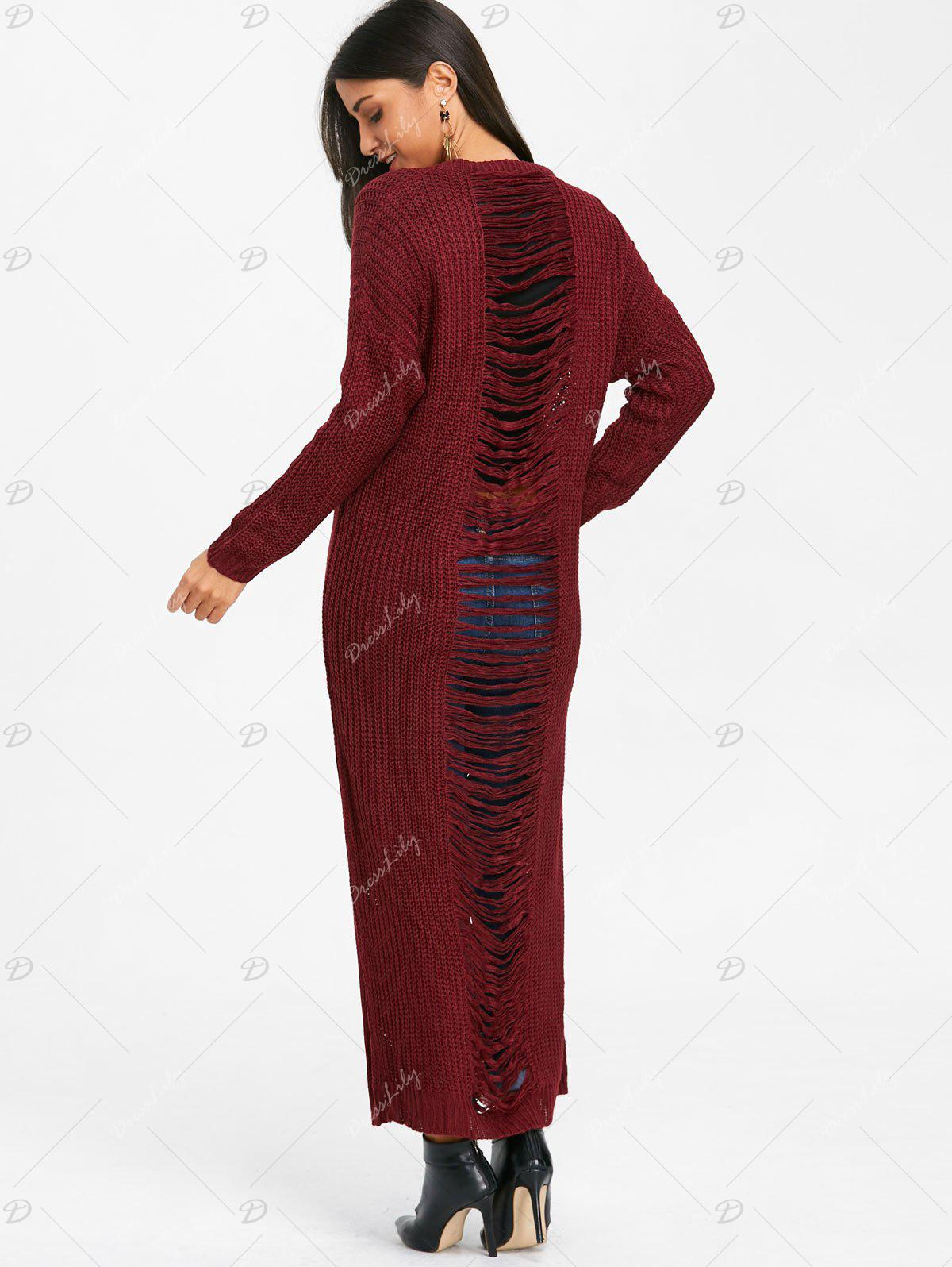 Ripped Chunky Knit Long Dress - WINE RED L