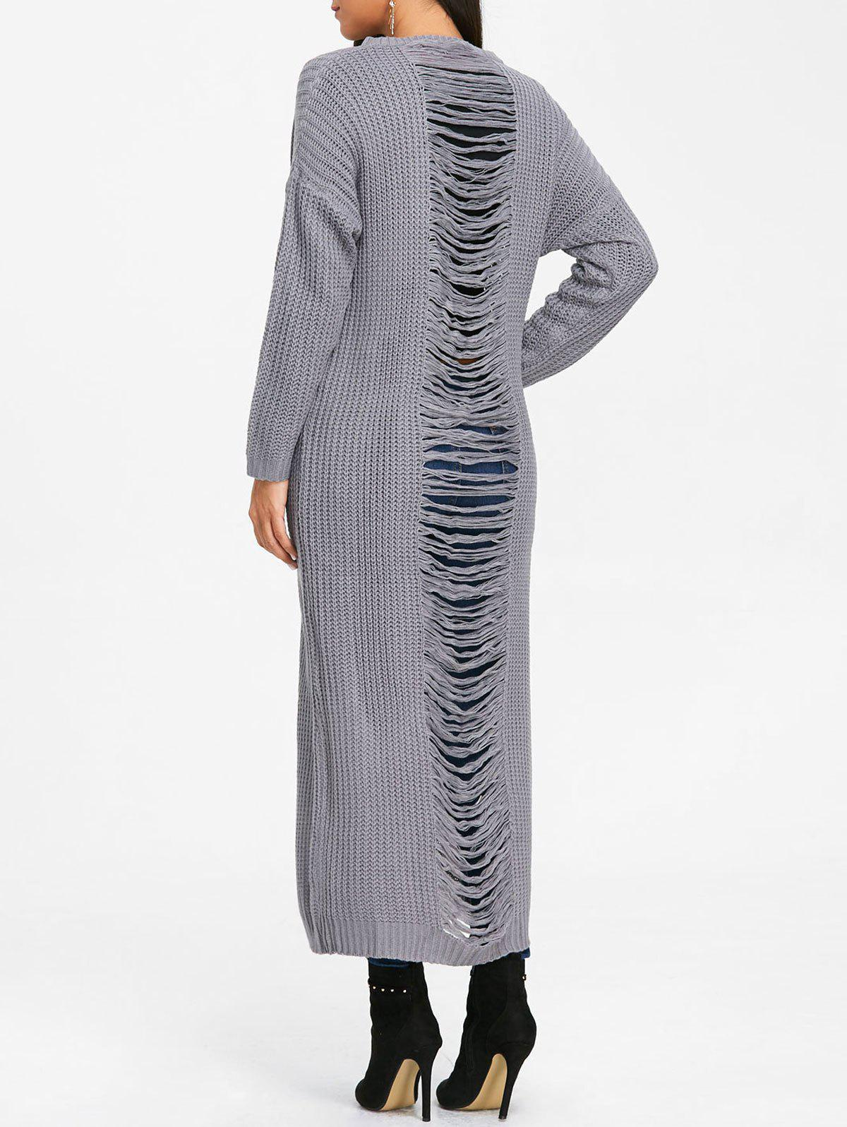 Ripped Chunky Knit Long Dress - GRAY S