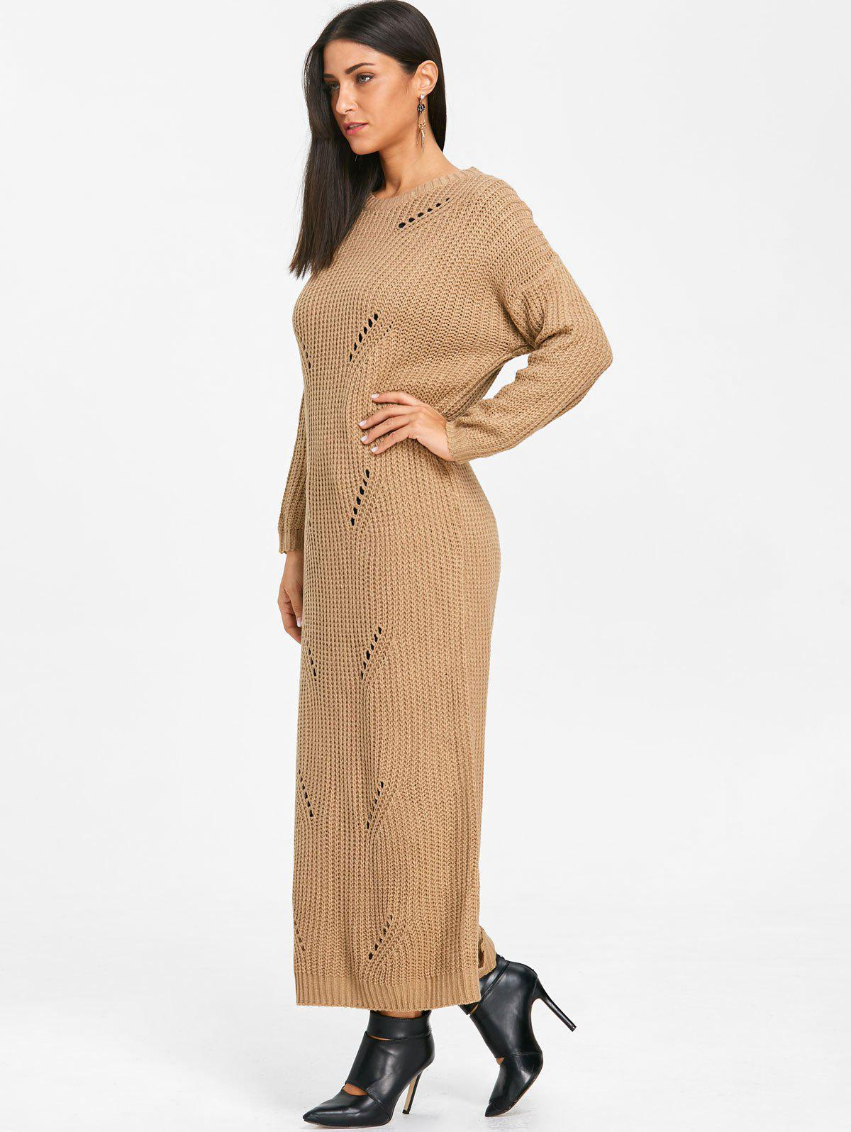 Ripped Chunky Knit Long Dress - KHAKI XL