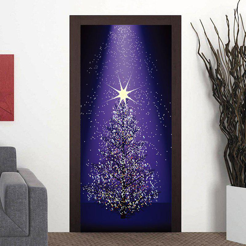 Star Christmas Tree Pattern Door Art Stickers shinning christmas tree door art stickers