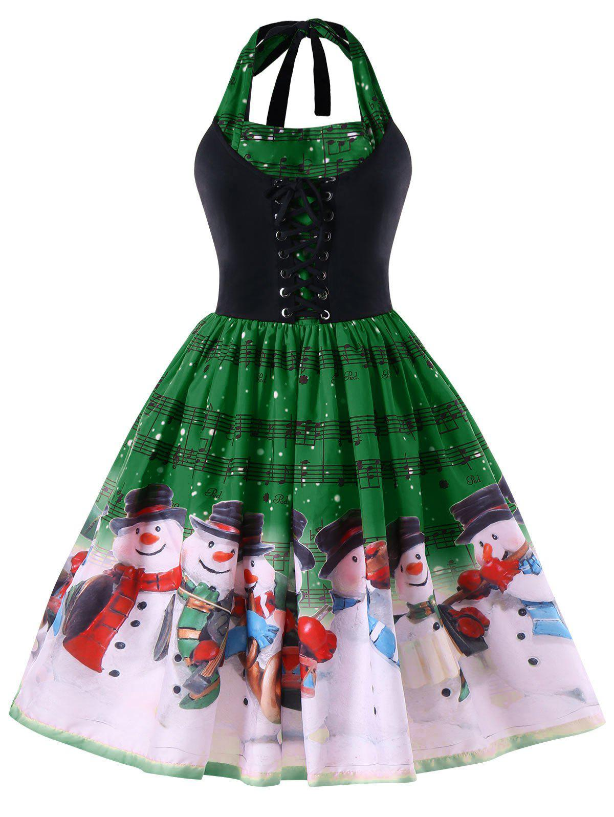 Christmas Plus Size Music Notes Halter Swing Dress music note party swing dress