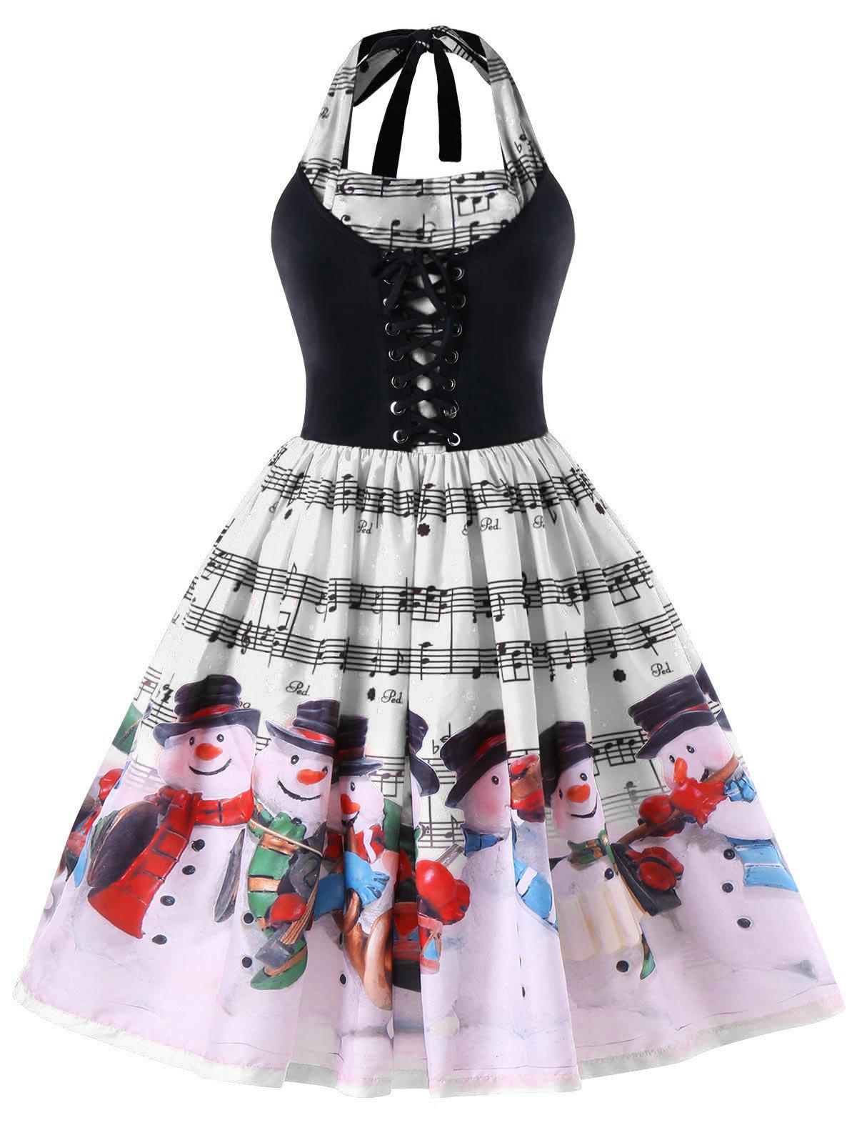 цены Christmas Plus Size Music Notes Halter Swing Dress