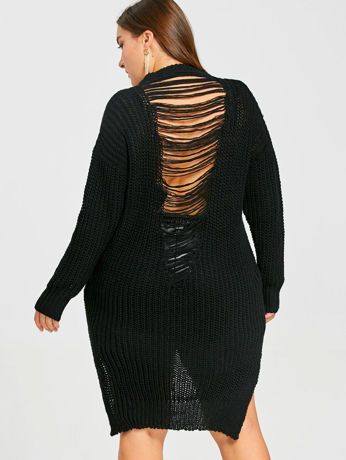 Plus Size High Low Ripped Chunky  Sweater - BLACK 2XL