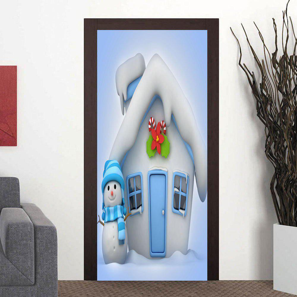Christmas Cottage and Snowman Pattern Door Cover Stickers - LIGHT BLUE 38.5*200CM*2PCS