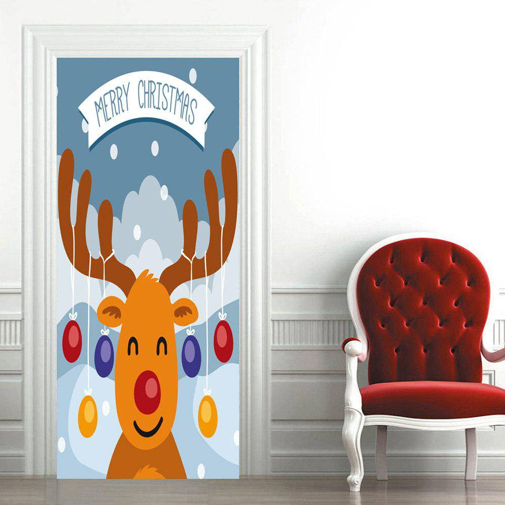 Christmas Cartoon Deer Pattern Door Art Stickers - COLORMIX 38.5*200CM*2PCS