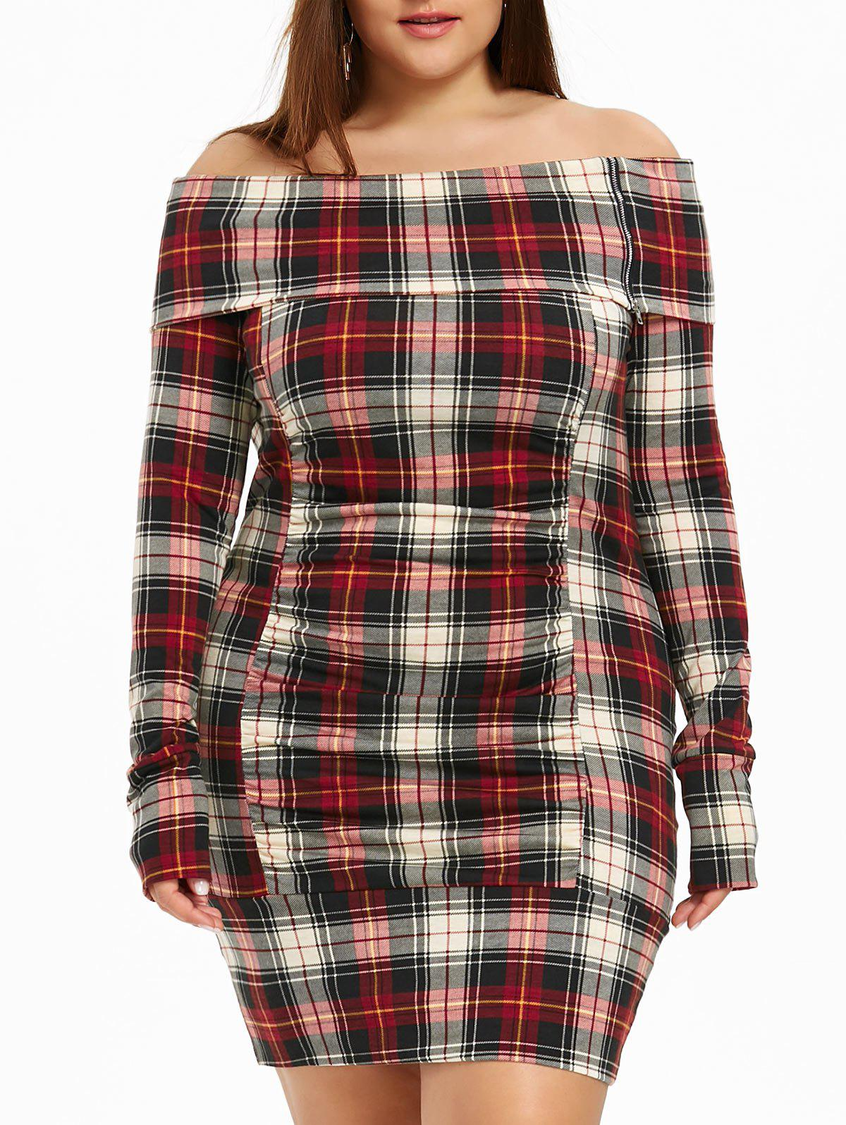 Plus Size Off The Shoulder Plaid Bodycon Dress - RED XL
