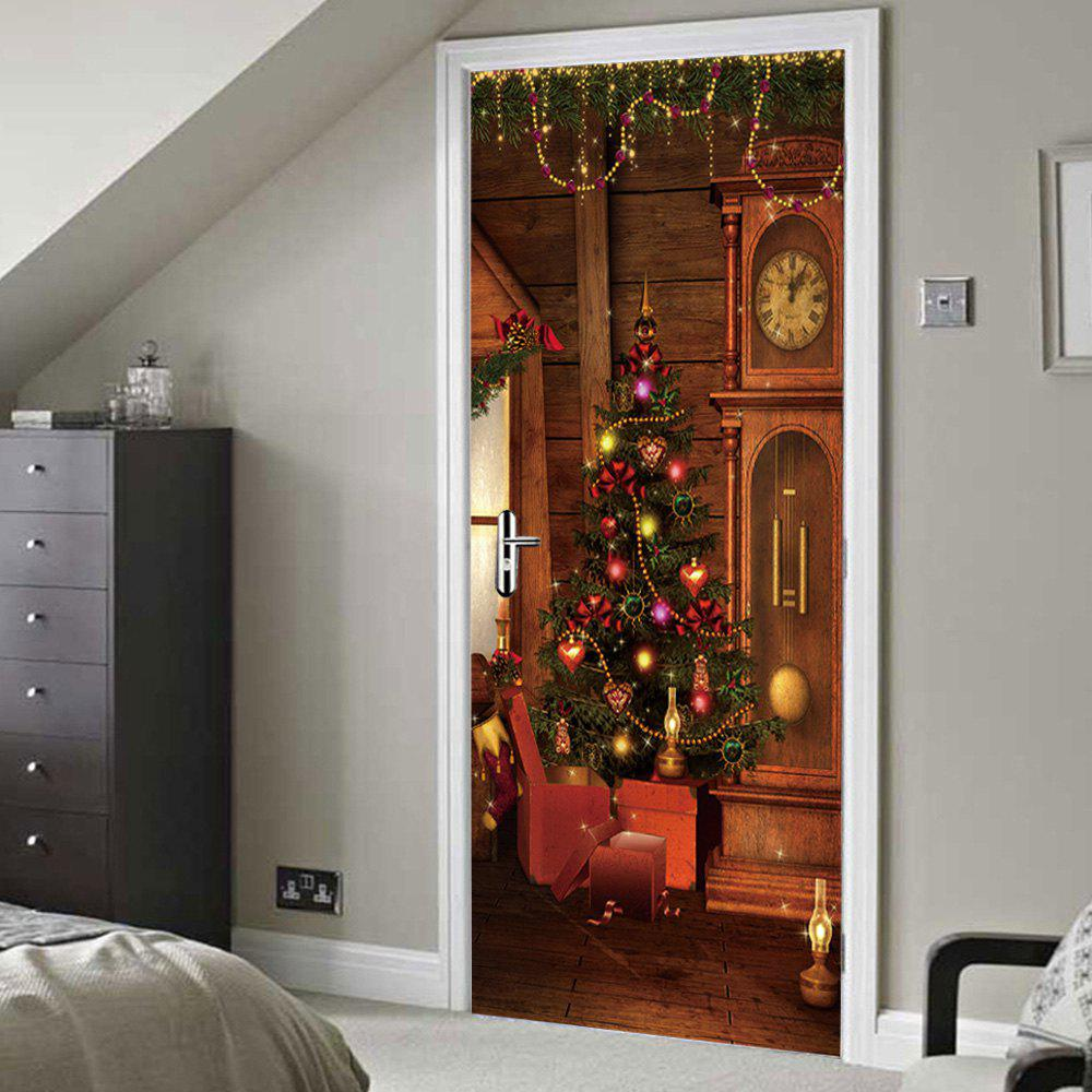 Christmas Tree Clock Pattern Door Stickers - BROWN 38.5*200CM*2PCS