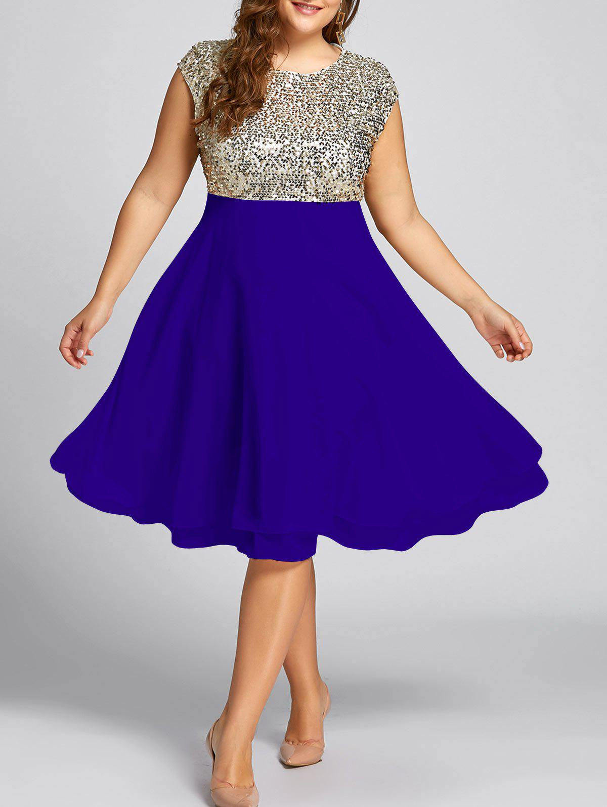 2018 Plus Size Sequin Sparkly Cocktail Dress ROYAL XL In Dresses ...