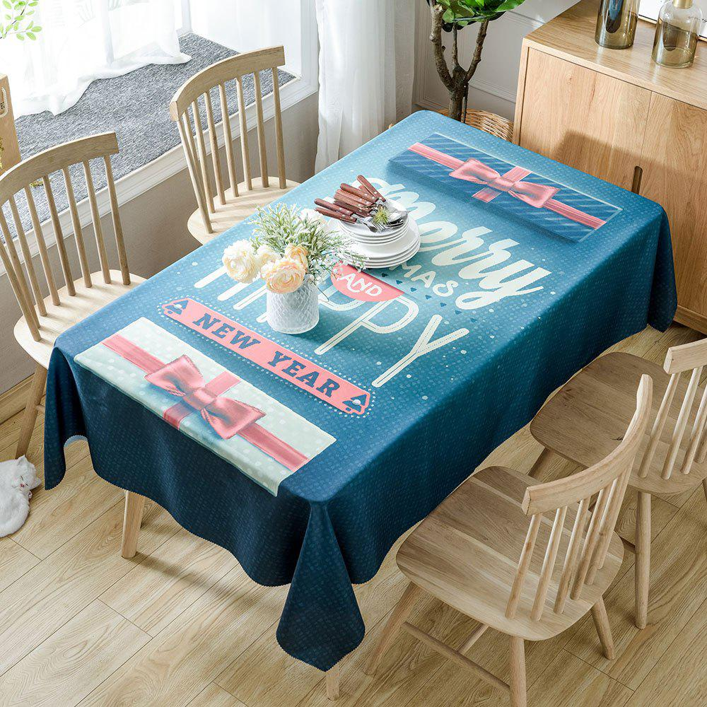Christmas Greeting Word Printed Waterproof Table Cloth - COLORMIX W60 INCH * L84 INCH