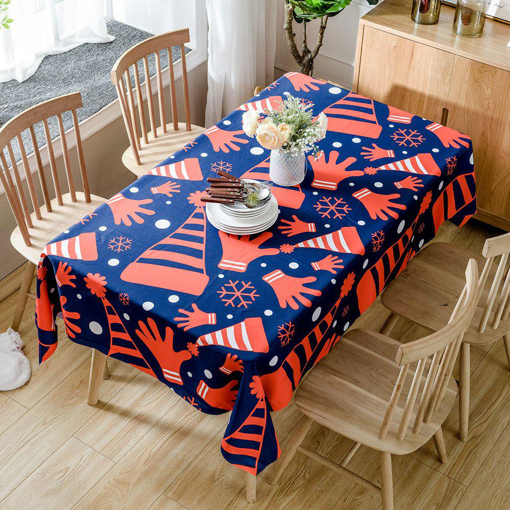 Christmas Hats and Gloves Printed Waterproof Table Cloth - RED W54 INCH * L54 INCH