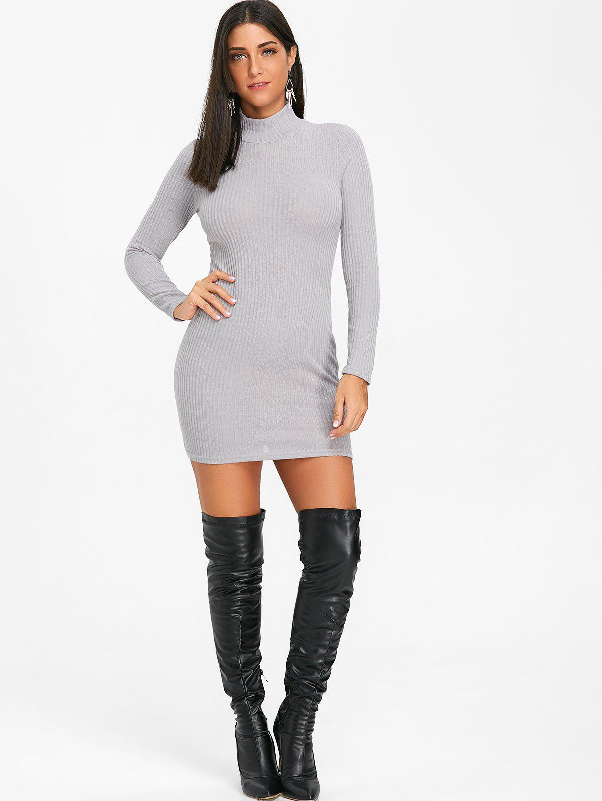 High Neck Knit Bodycon Mini Dress - GRAY XL