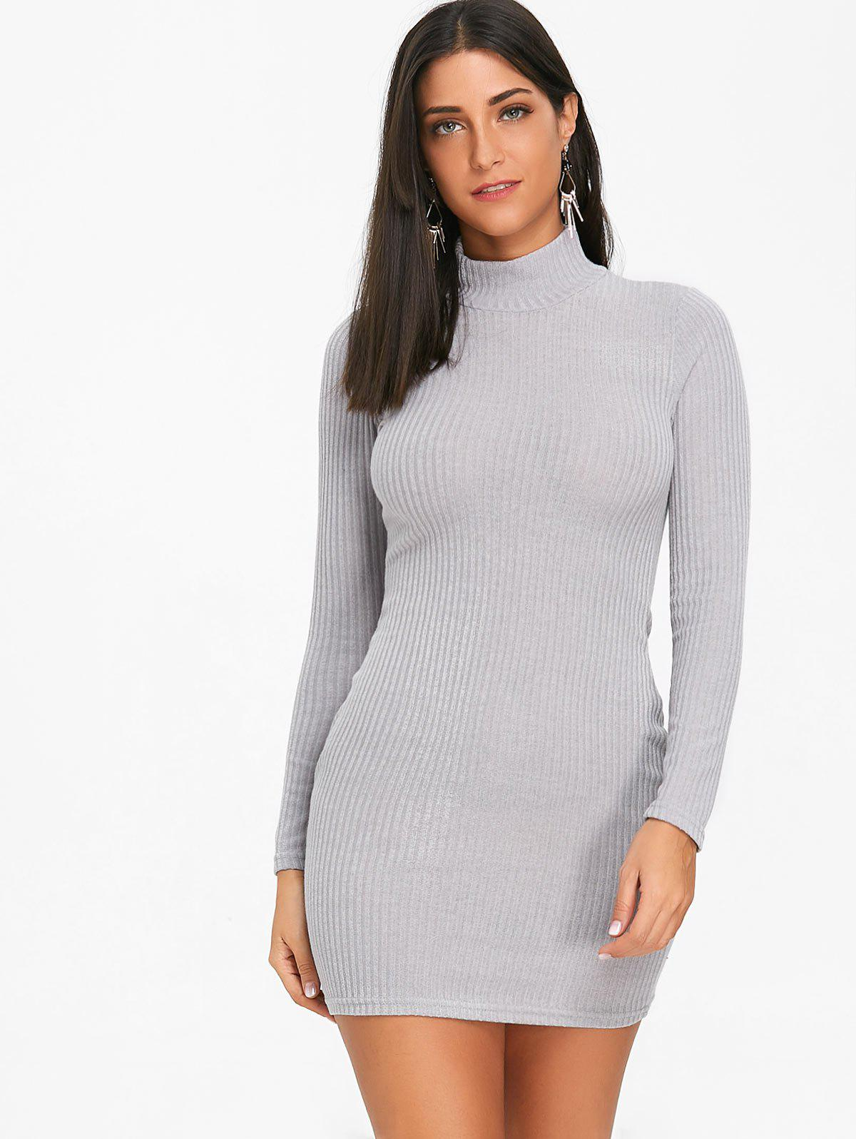High Neck Knit Bodycon Mini Dress - GRAY L