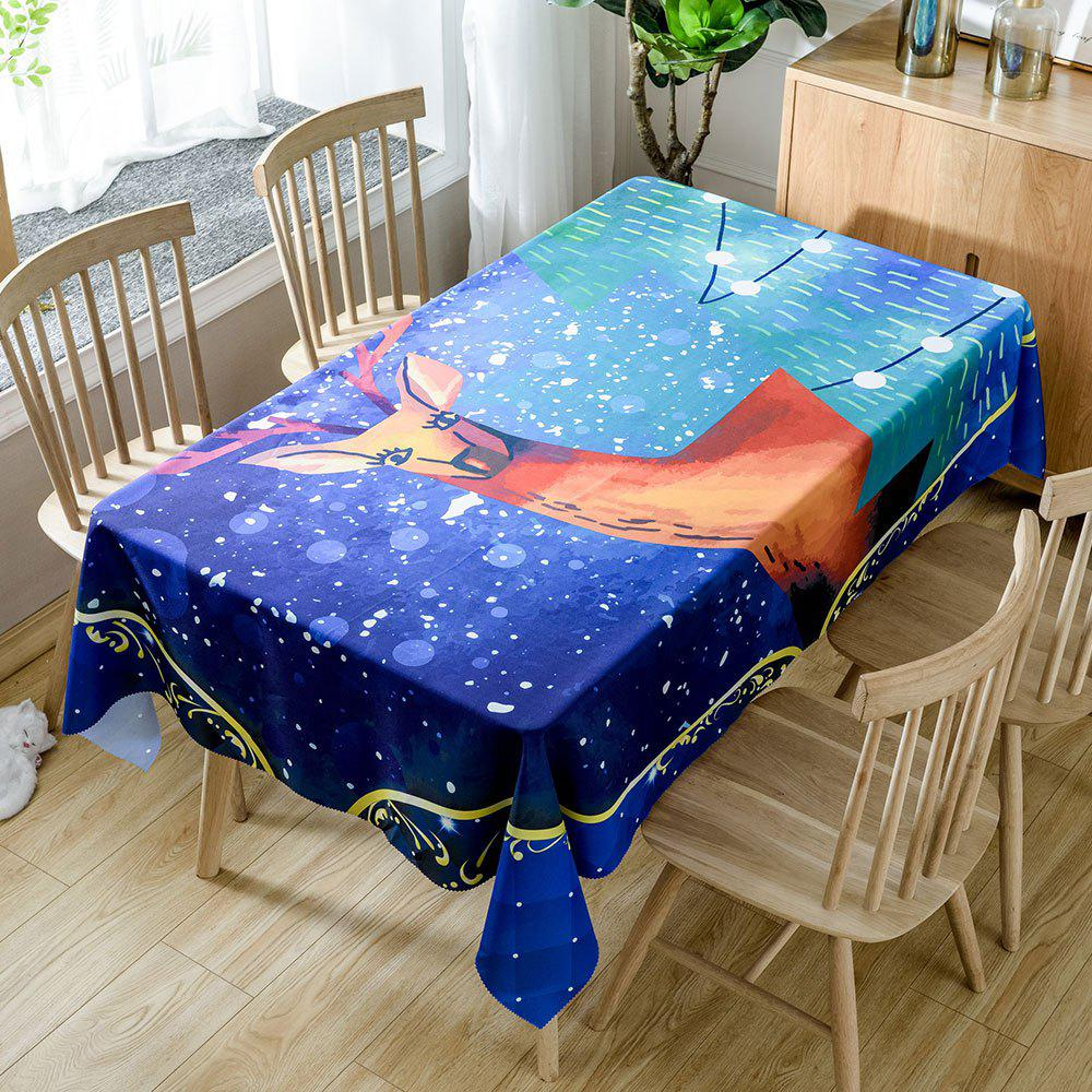 Christmas Graceful Elk Print Waterproof Fabric Table Cloth - DEEP BLUE W54 INCH * L54 INCH
