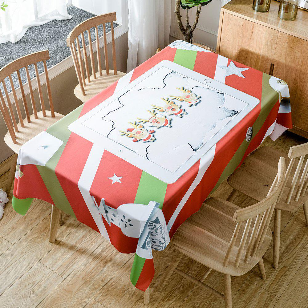 Christmas Cartoon Elk Printed Waterproof Fabric Table Cloth - RED W60 INCH * L84 INCH