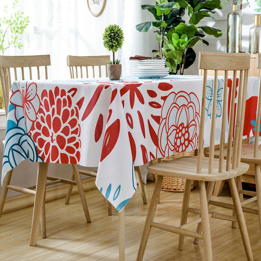 Floral Printed Home Decoration Waterproof Table Cloth - COLORMIX W54 INCH * L72 INCH