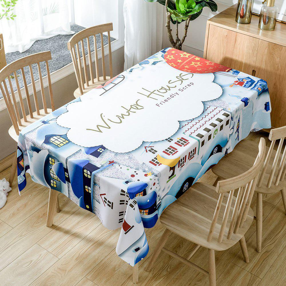 Christmas Winter Houses Print Waterproof Fabric Table Cloth - WHITE W60 INCH * L84 INCH