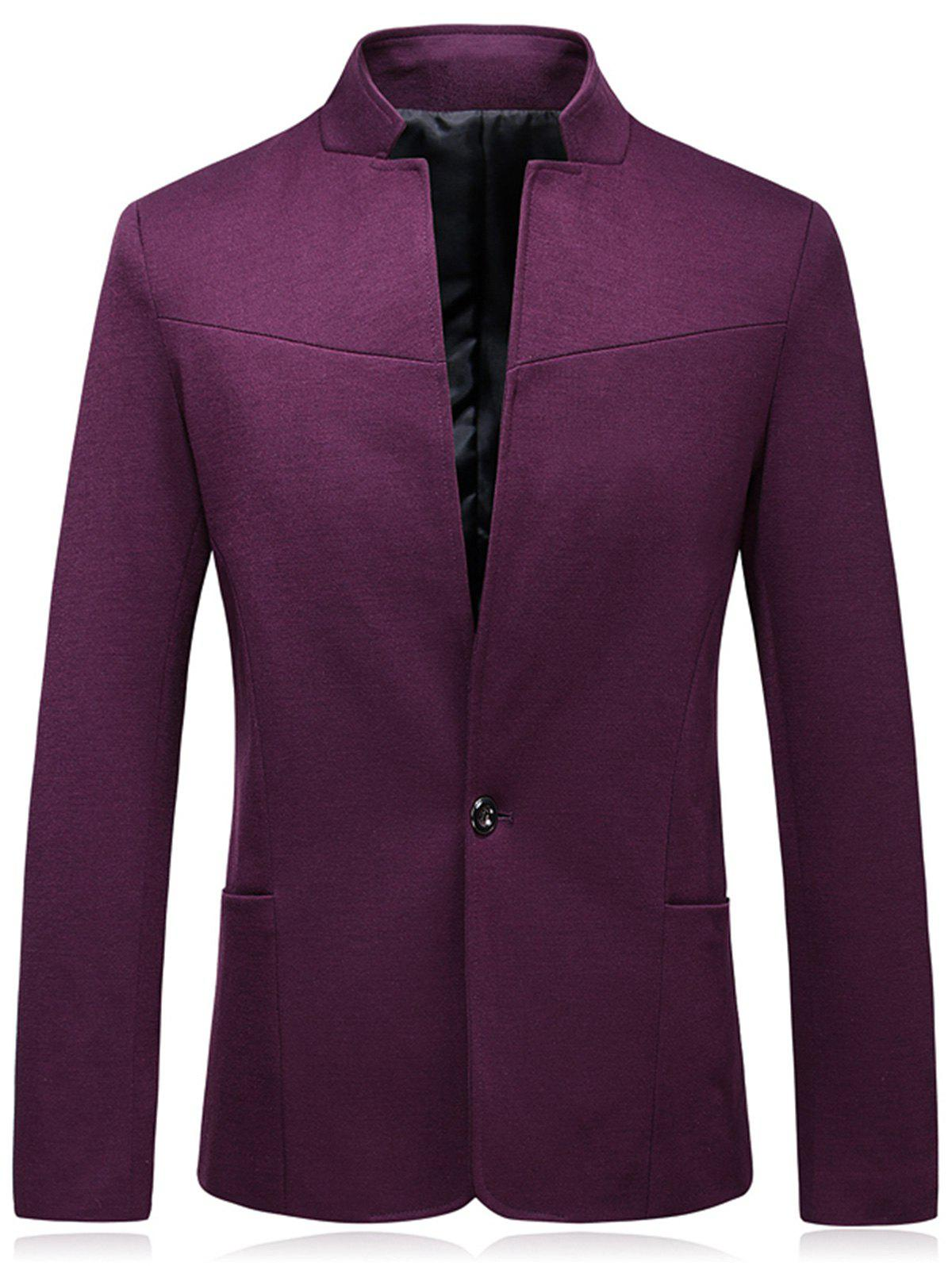 Slim Fit Stand Collar One Button Blazer - WINE RED 2XL