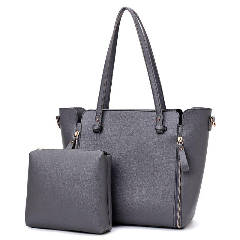 Faux Leather Shoulder Bag Set With Strap - GRAY