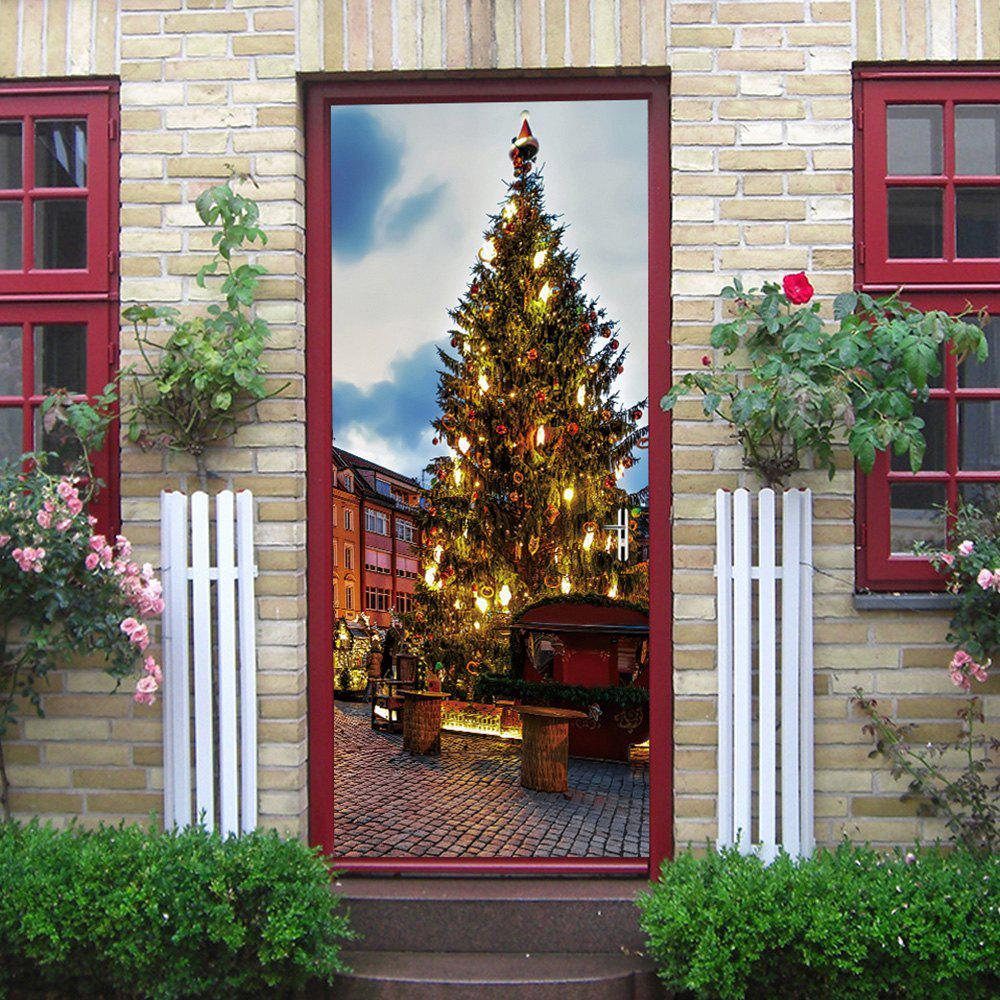 Christmas Pine Tree Pattern Door Stickers - COLORMIX 38.5*200CM*2PCS