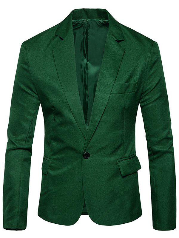 Flap Pocket One Button Blazer - GRASS GREEN 3XL