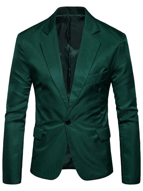 Flap Pocket One Button Blazer - BLACKISH GREEN 2XL