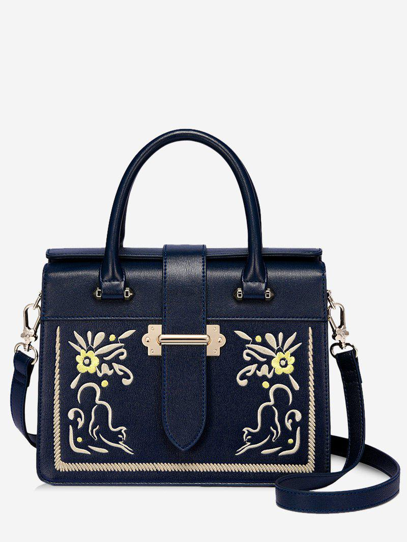 Embroidery Flower Metal Handbag - DEEP BLUE