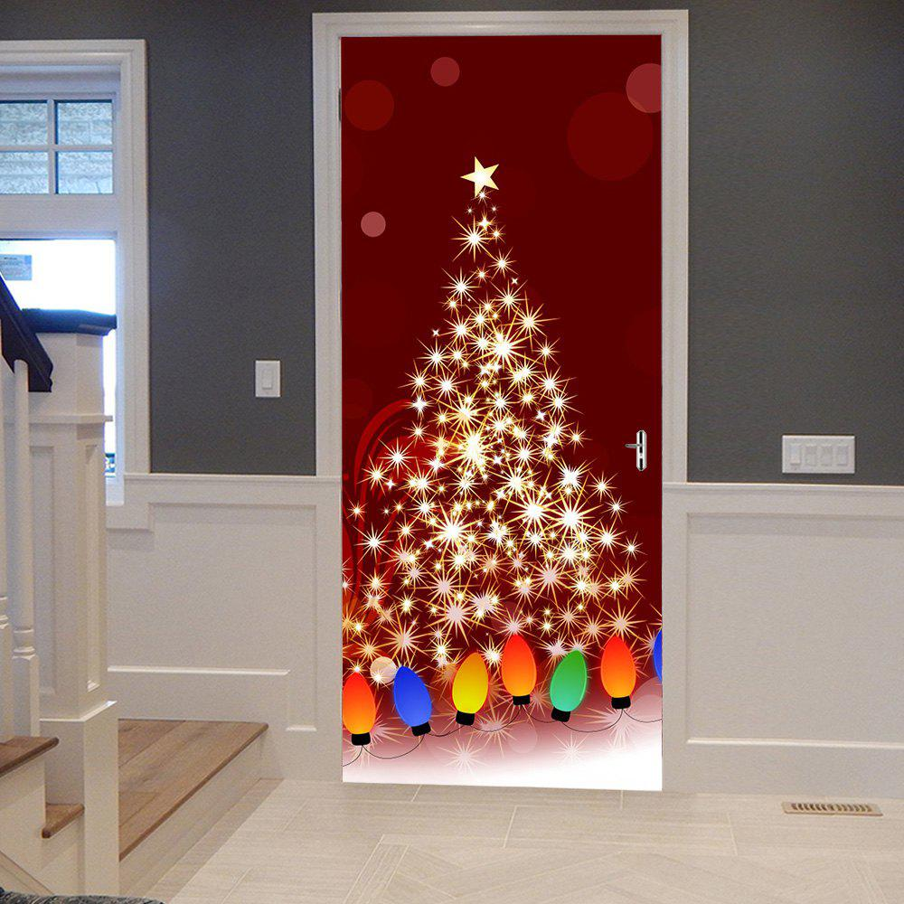 Christmas Starlight String Light Pattern Door Stickers - COLORMIX 38.5*200CM*2PCS