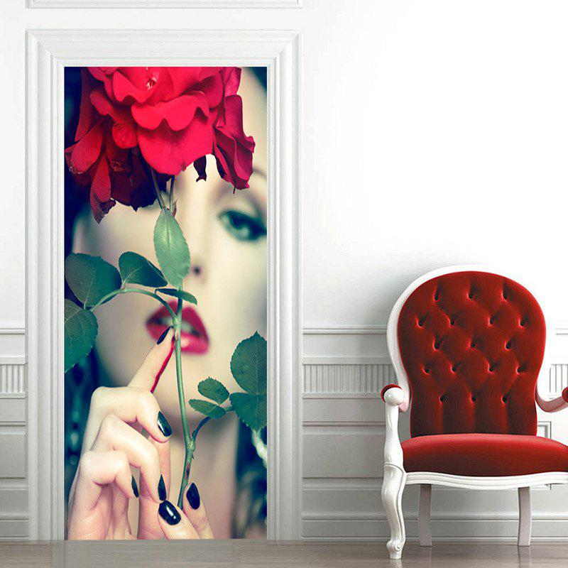 Alluring Lady and Flower Door Art Stickers - GREEN 38.5*200CM*2PCS