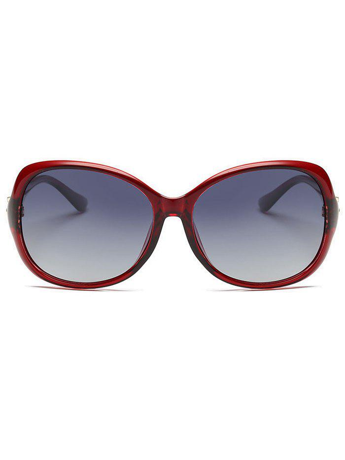 Metal Floral Embellished Oversized Sun Shades Sunglasses - RED