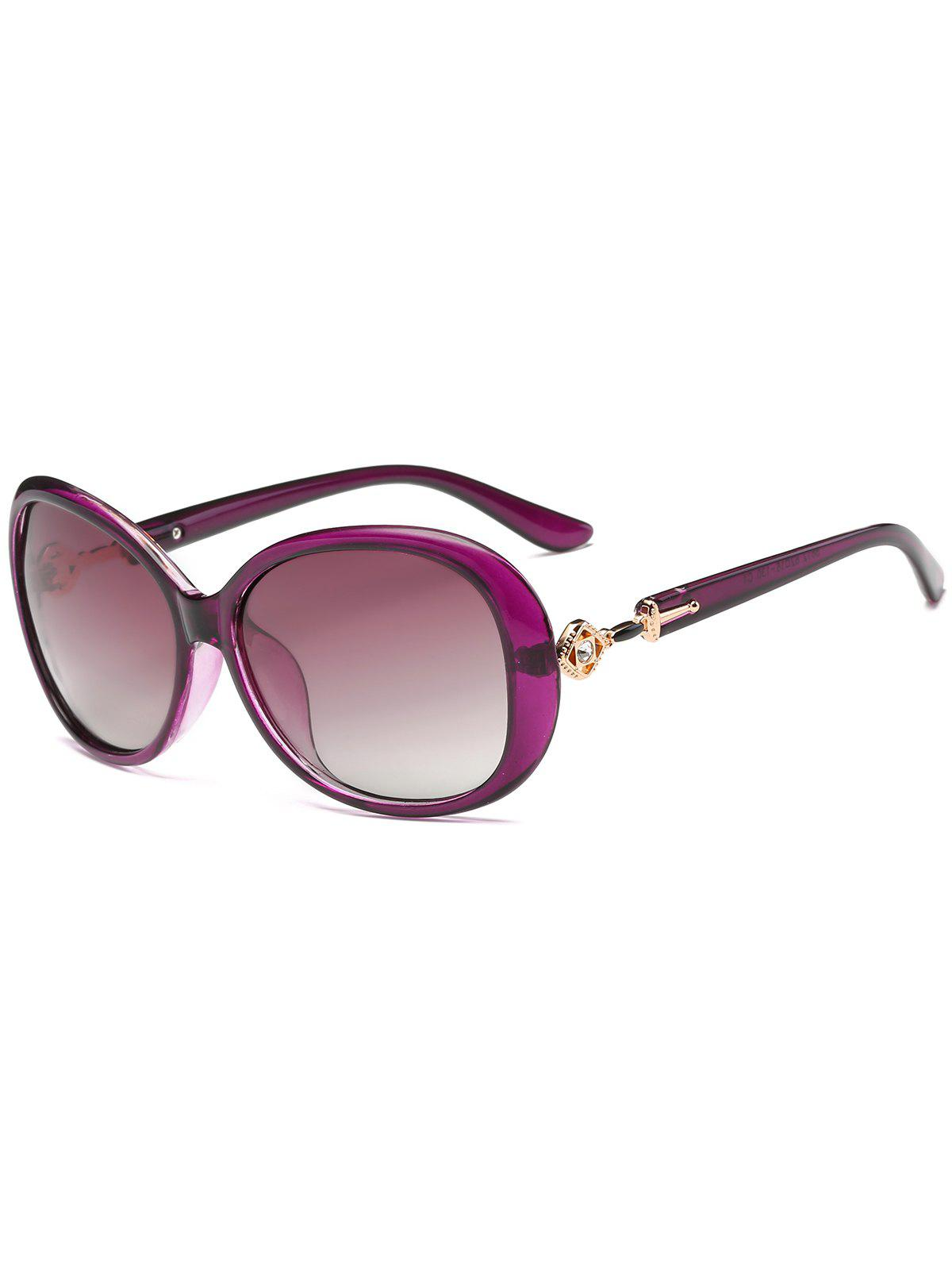 Rhinestone Inlay Decorated Oversized Driver Sunglasses - PURPLE
