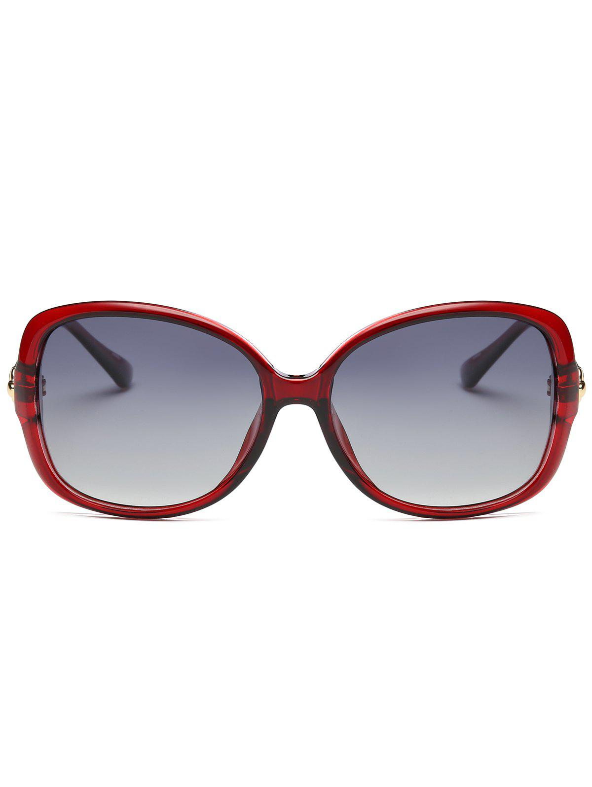 Hollow Out Metal Decoration Oversized Driver Sunglasses - RED