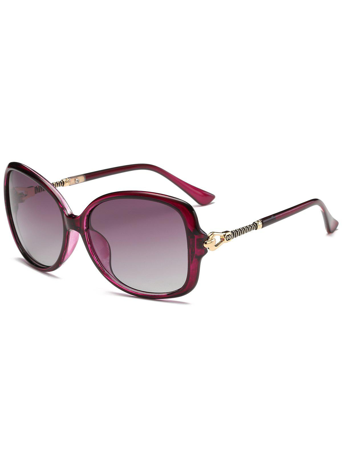 Hollow Out Metal Decoration Oversized Driver Sunglasses - PURPLE